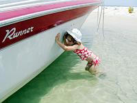 elizabeth trying to push boat